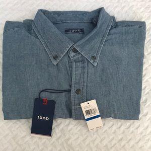 IZOD Cotton Chambray Pocket Shirt